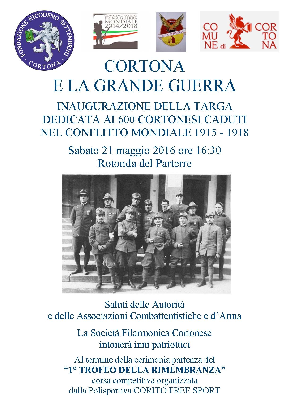 Una targa a Cortona in ricordo dei caduti della Grande Guerra