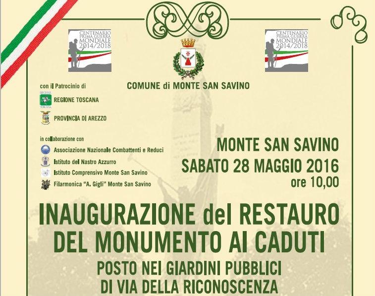Monte San Savino, restauro del monumento ai Caduti, sabato l'inaugurazione