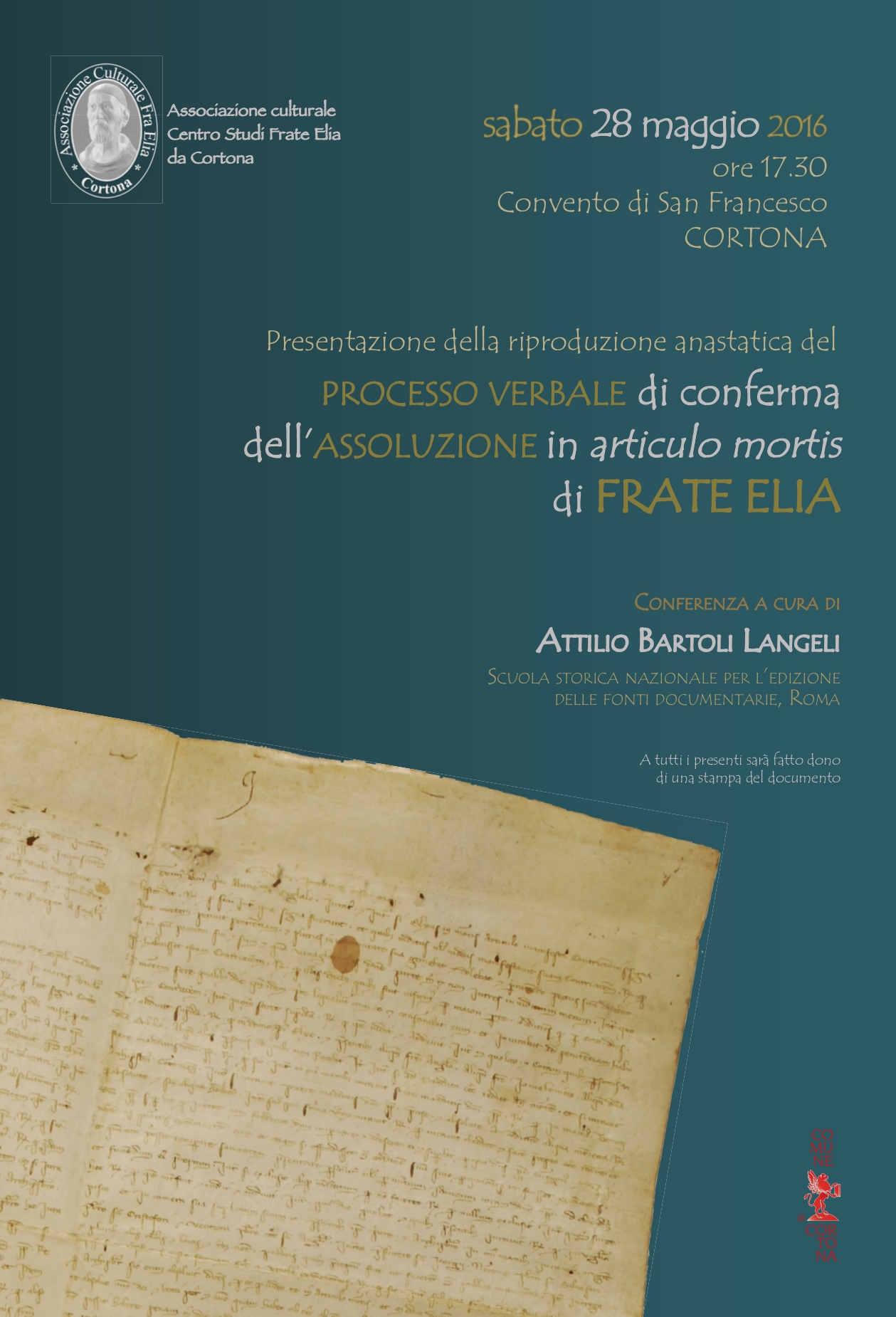 Il processo di assoluzione di Frate Elia, iniziativa a Cortona presso il Convento di San Francesco