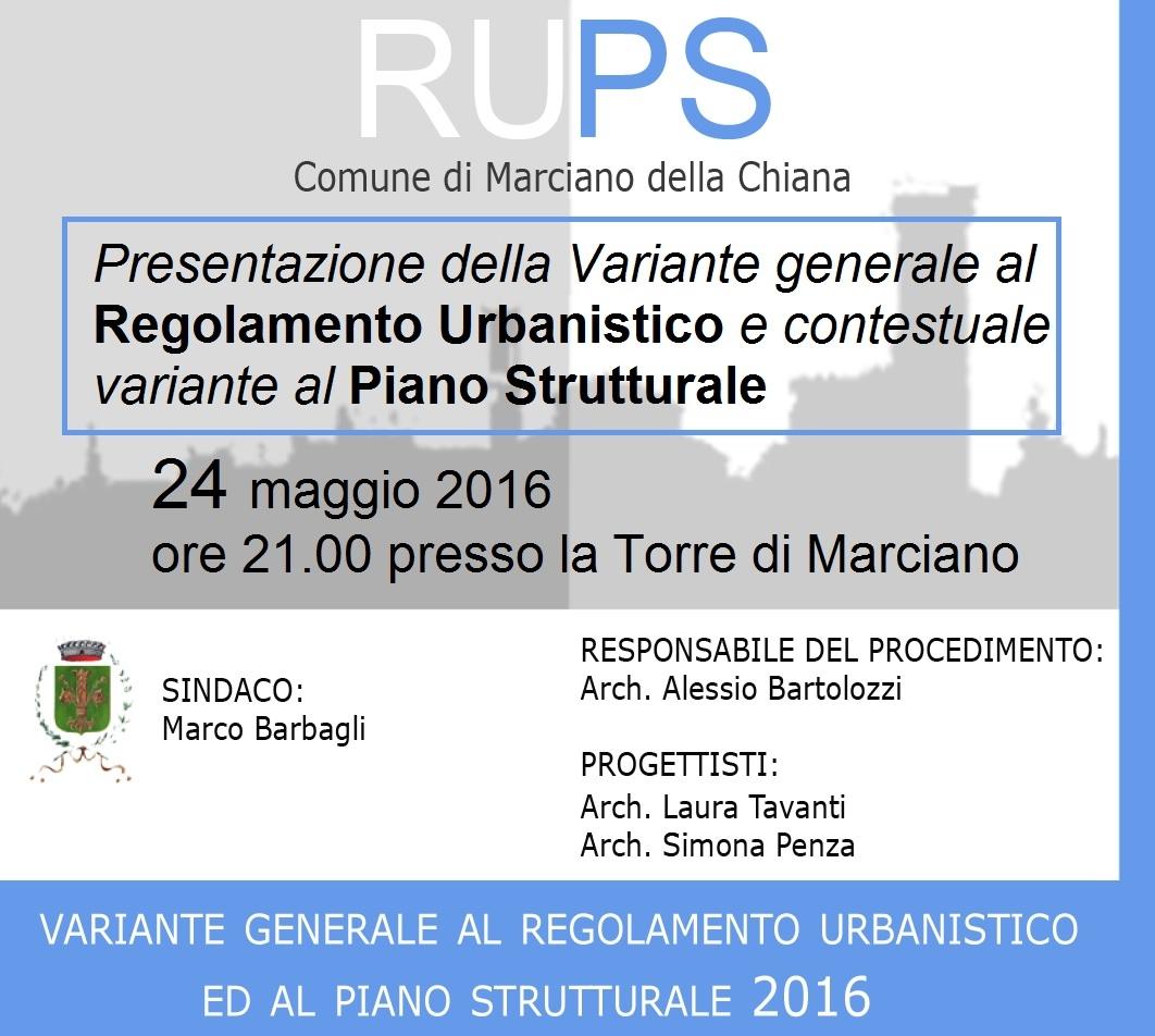Marciano, presentazione pubblica della Variante al Piano strutturale