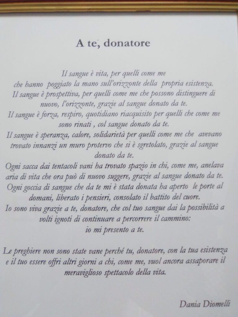 Donare sangue è vita. La poesia di Dania Diomelli all'Ospedale di Fratta