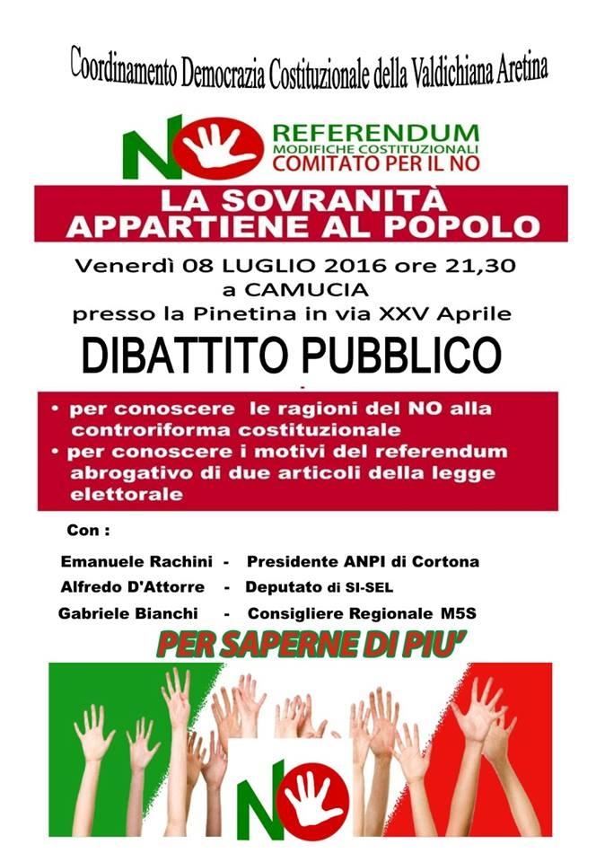 Comitato No al Referendum, incontro venerdì sera alla Pinetina a Camucia