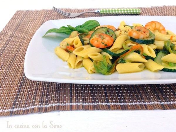 Pennette zucchine e gamberetti