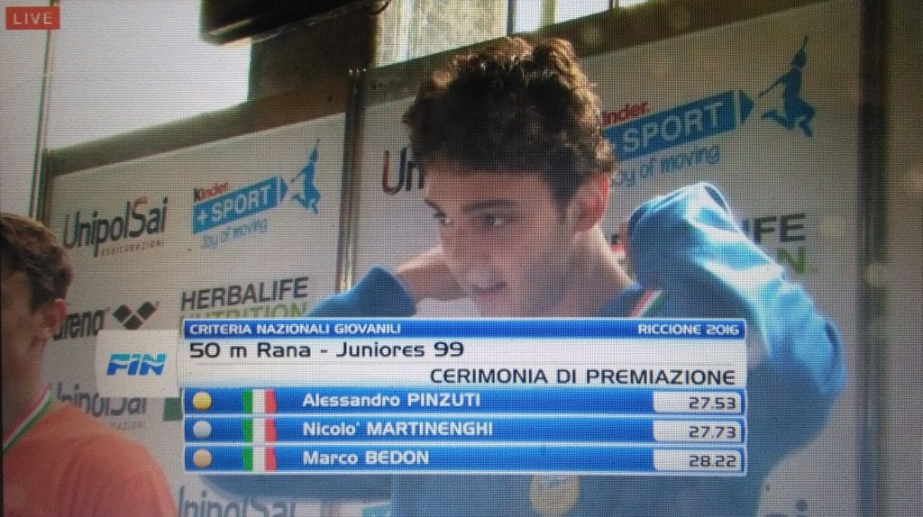Il cortonese Pinzuti ai mondiali juniores di Nuoto di Salvamento