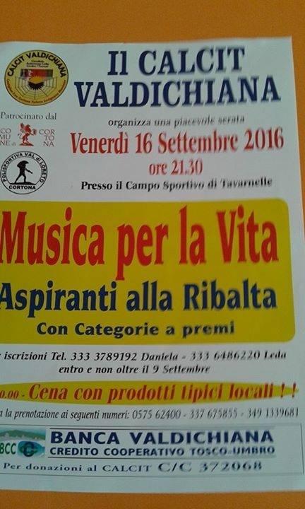 'Musica per la vita', serata promossa dal Calcit a Tavarnelle