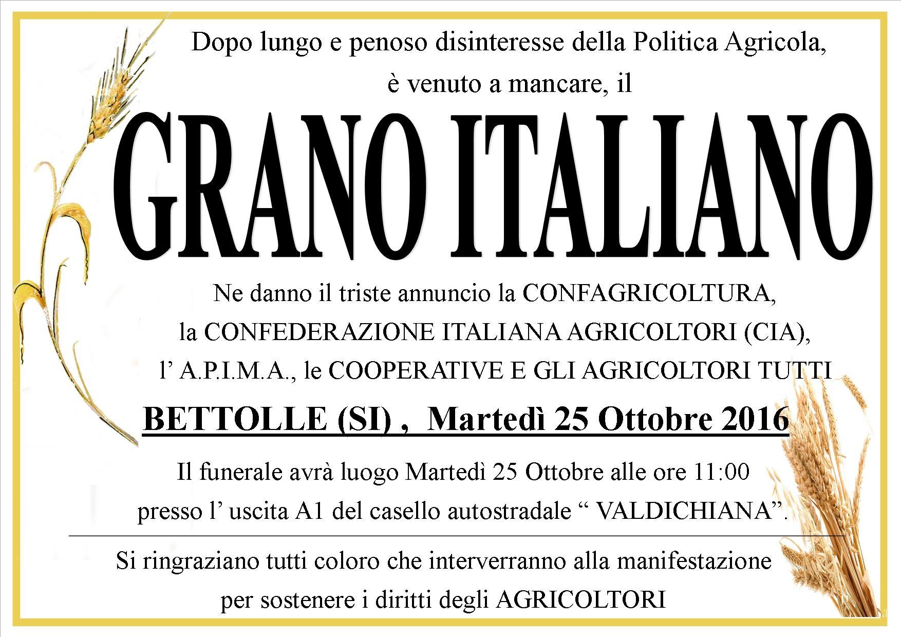 Al Casello di Bettolle si celebra il 'funerale' del Grano Italiano