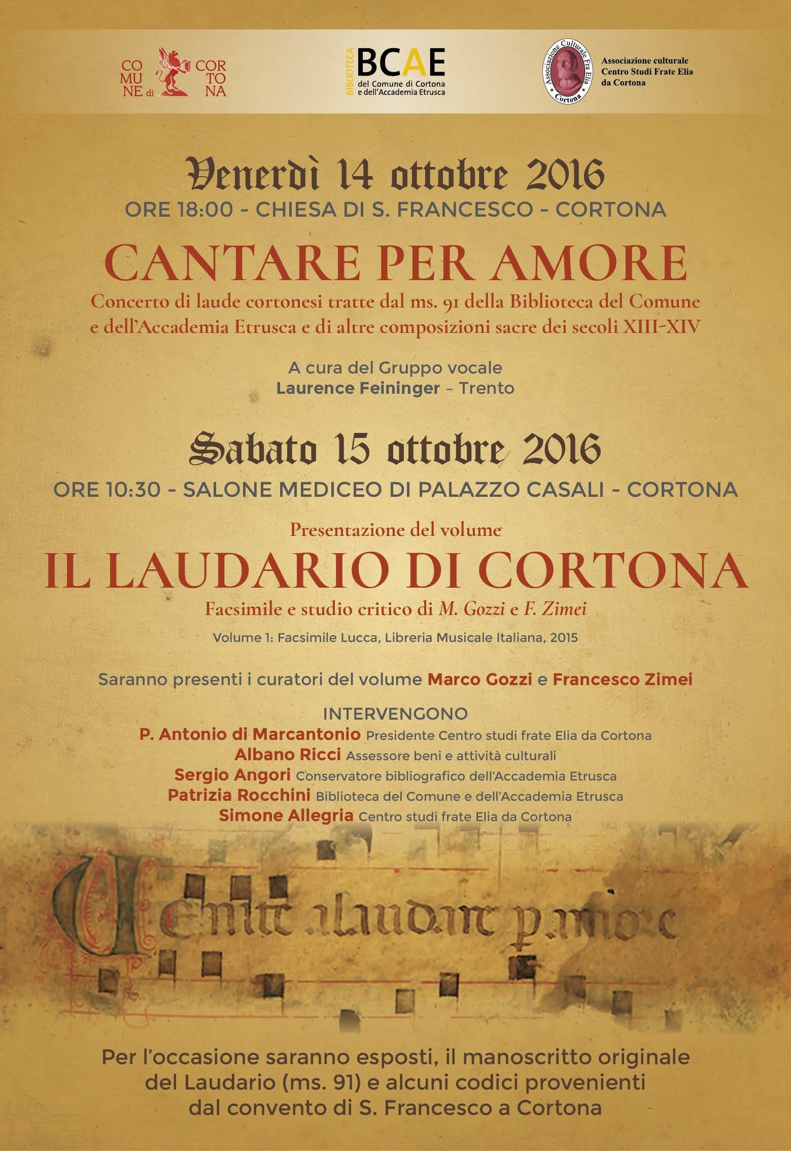 Laudario di Cortona, doppia iniziativa promossa dal Centro Studi Frate Elia