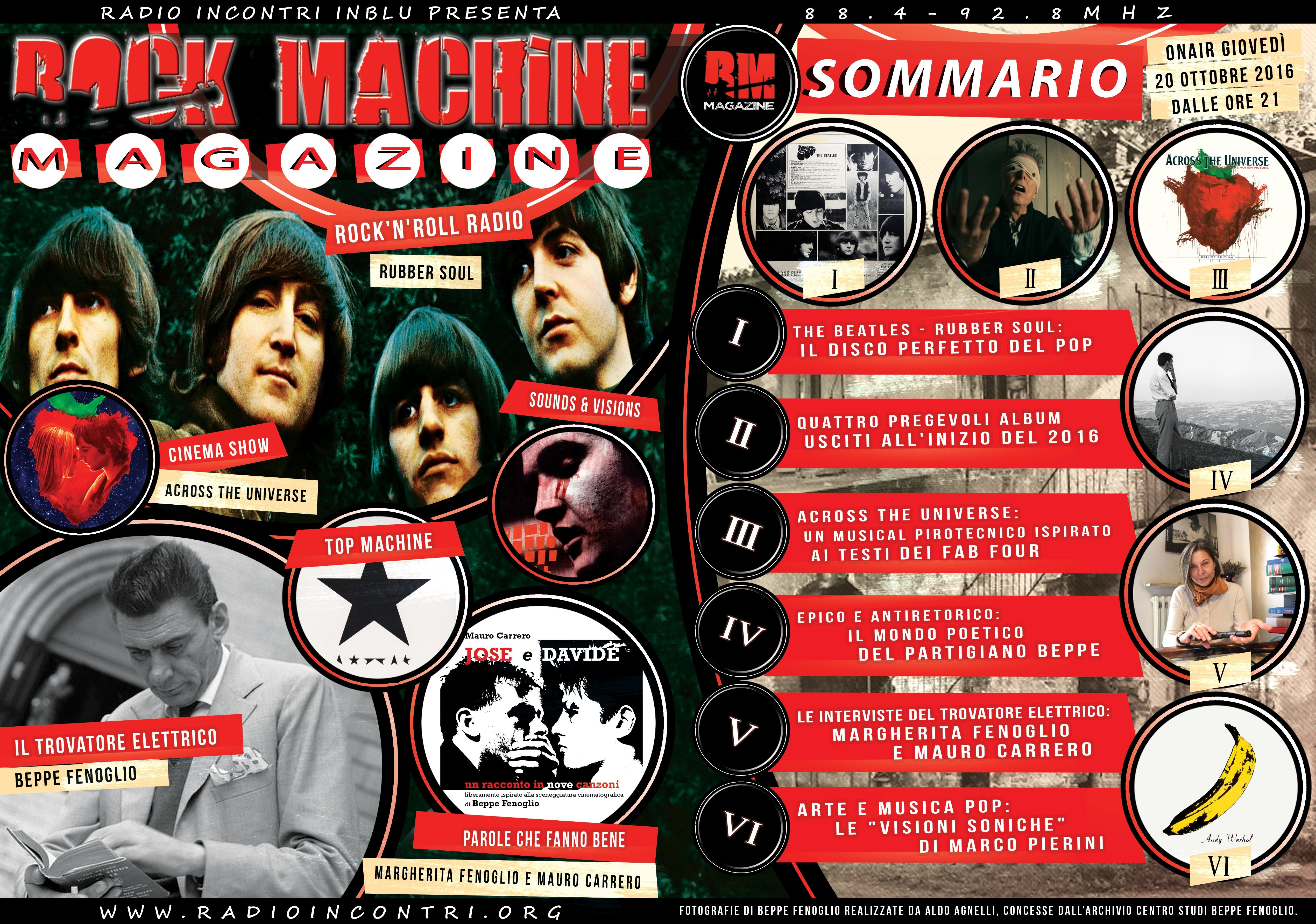 Rock Machine Magazine, prima puntata: da Rubber Soul a Andy Warhol passando per Beppe Fenoglio