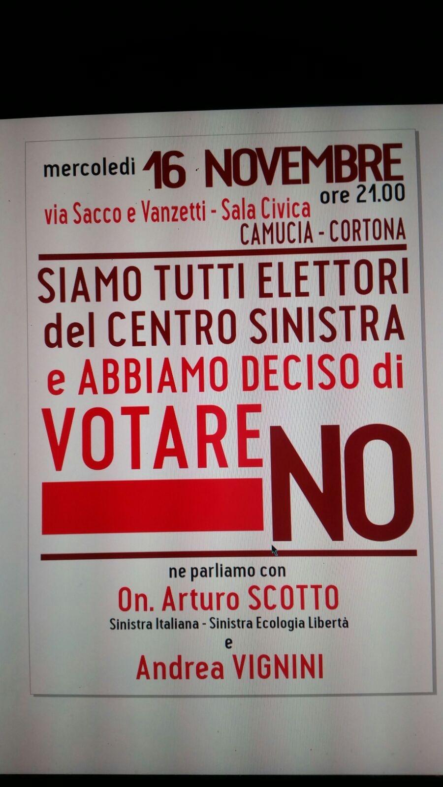 'Abbiamo deciso di votare No', assemblea pubblica a Camucia il 16 Novembre