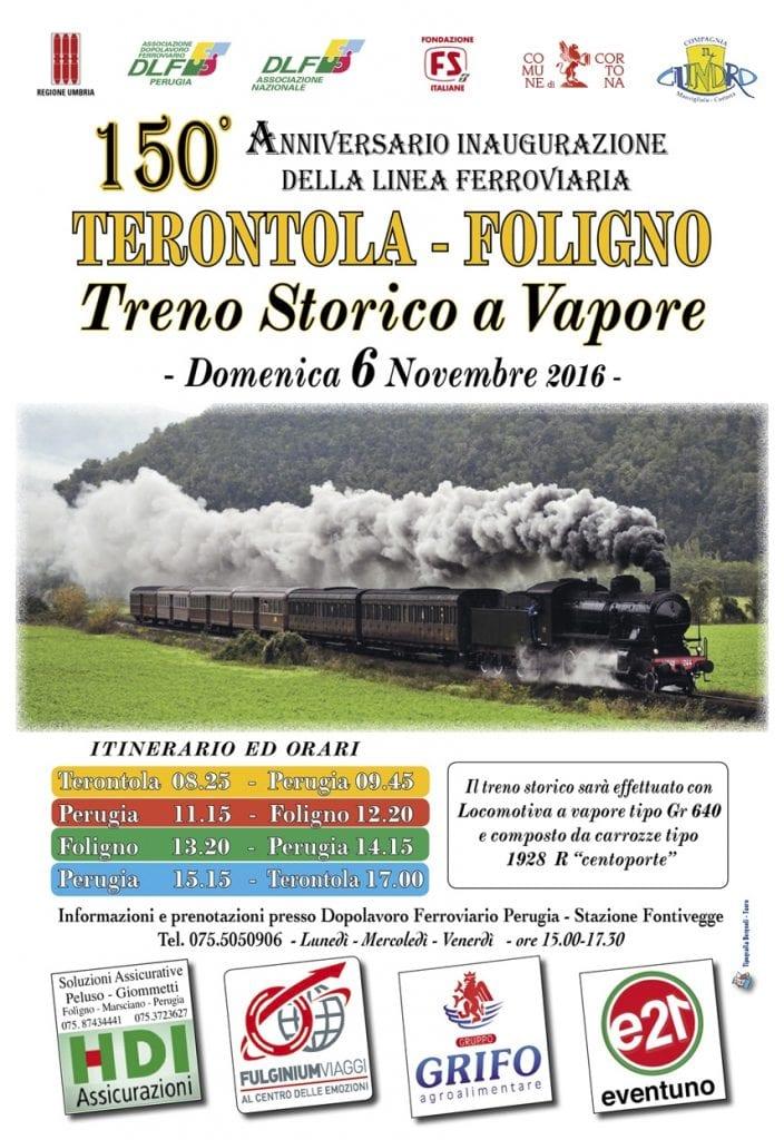 Sul treno a vapore per celebrare i 150 anni della ferrovia Terontola - Foligno