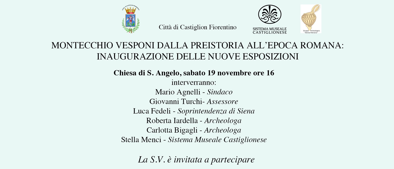 'Montecchio Vesponi dalla preistoria ai Romani', sabato l'inaugurazione delle nuove esposizioni