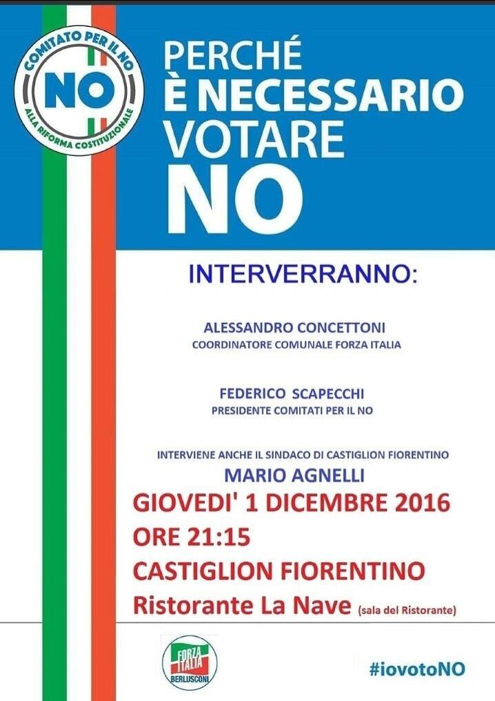 Incontro per il No a Castiglion Fiorentino, sarà presente anche il Sindaco Agnelli