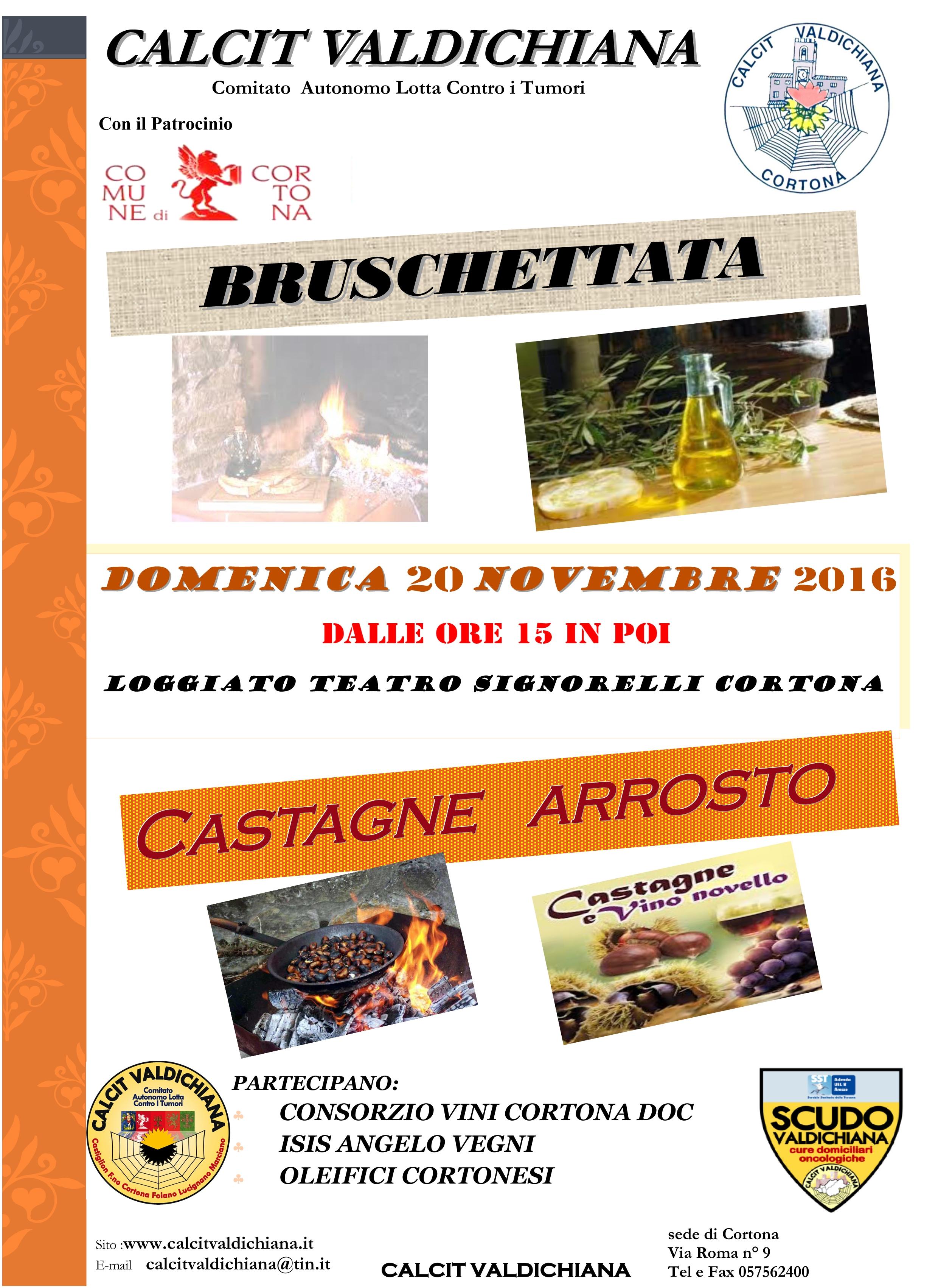 Bruschettata e castagne arrosto per il Calcit a Cortona