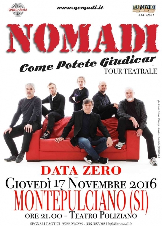 Il nuovo tour teatrale dei Nomadi parte da Montepulciano