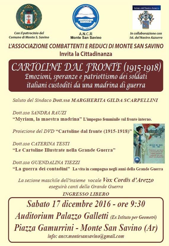'Cartoline dal fronte', nuova iniziativa dell'Associazione Combattenti e Reduci a Monte San Savino nel ricordo di Maria Pomaranzi