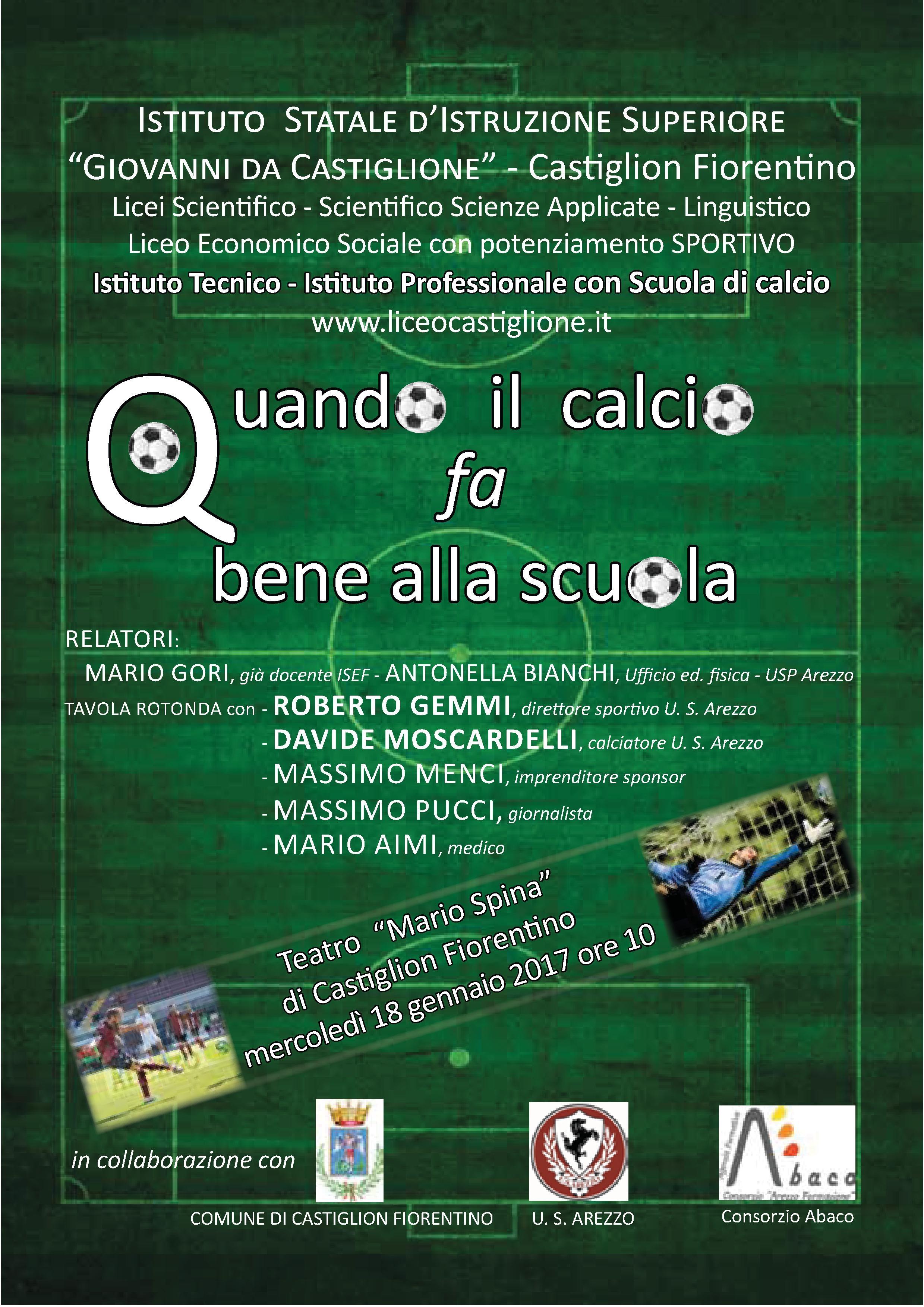 Al 'Giovanni da Castiglione' un nuovo Istituto Professionale con Scuola Calcio