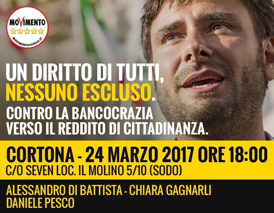 Di Battista a Cortona per il Tour M5S 'Bancocrazia'