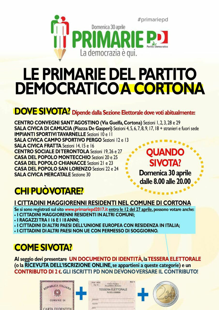 Primare PD: dove votare a Cortona