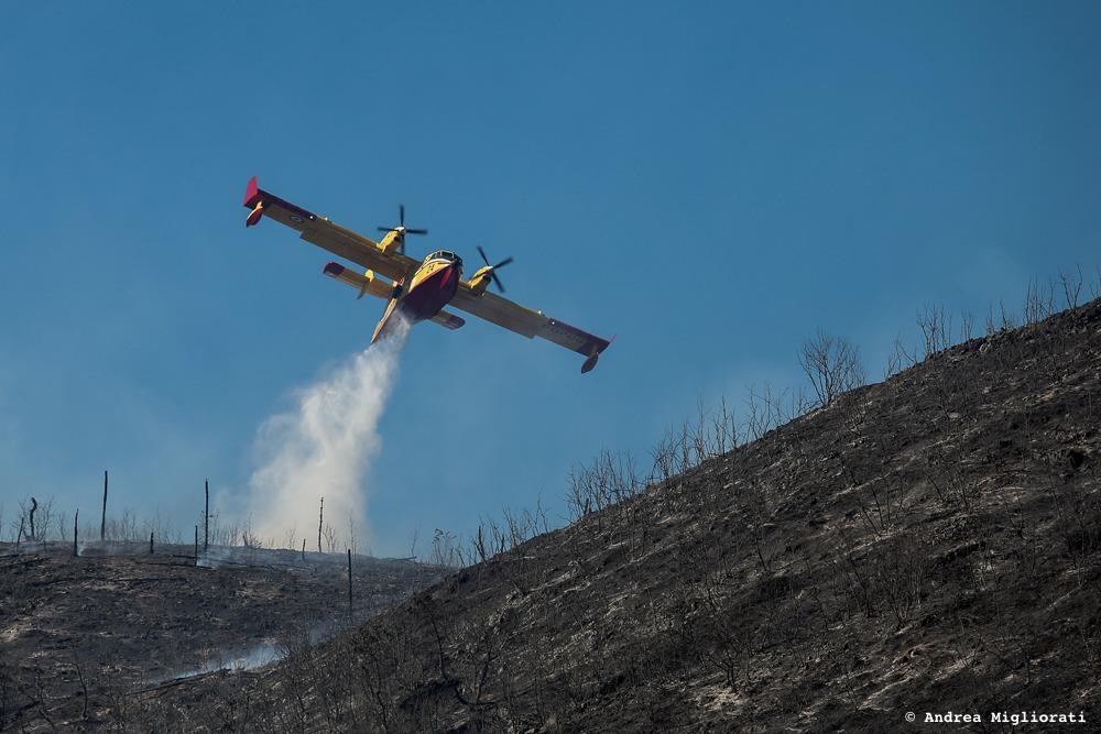 Incendio fra Terontola e Tuoro, almeno cinque ettari in fiamme