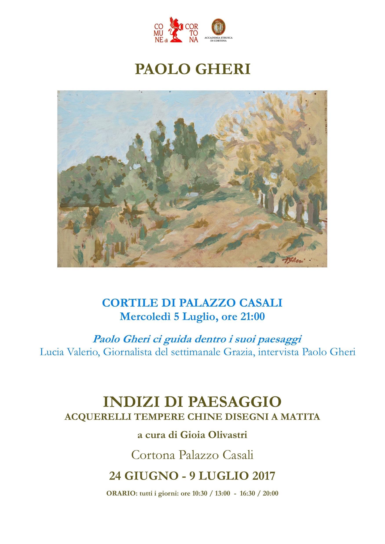 Mostra di Paolo Gheri, nuovo appuntamento speciale mercoledì a Palazzo Casali