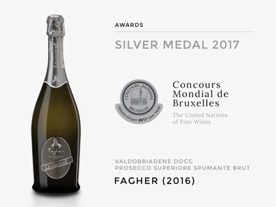 Le medaglie di Decanter wwa e del Concours Mondial de Bruxelles al Valdobbiadene docg Prosecco Superiore brut Fagher