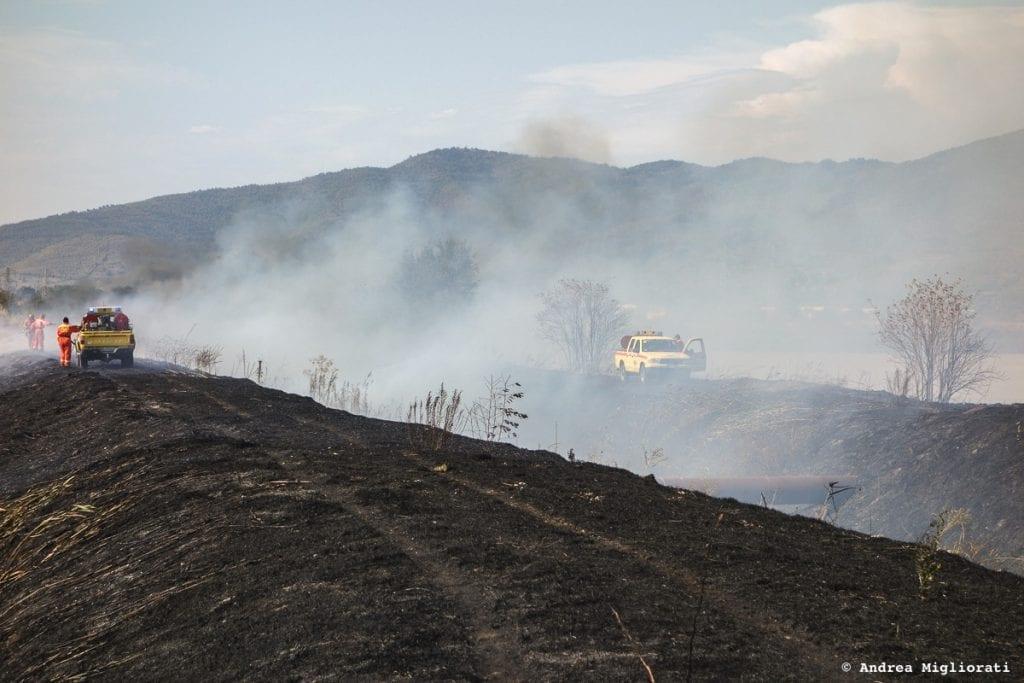 Incendio nell'area ex zuccherificio, bruciati 20 ettari