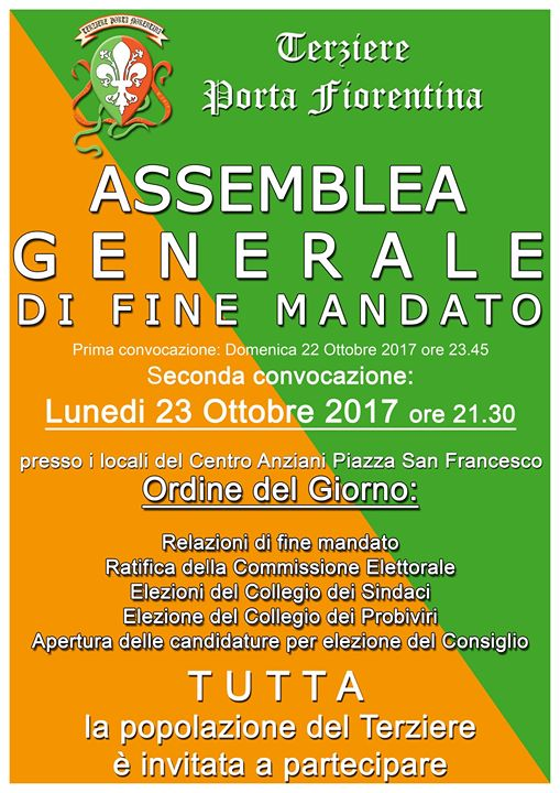 Assemblea generale di fine mandato del terziere Porta Fiorentina