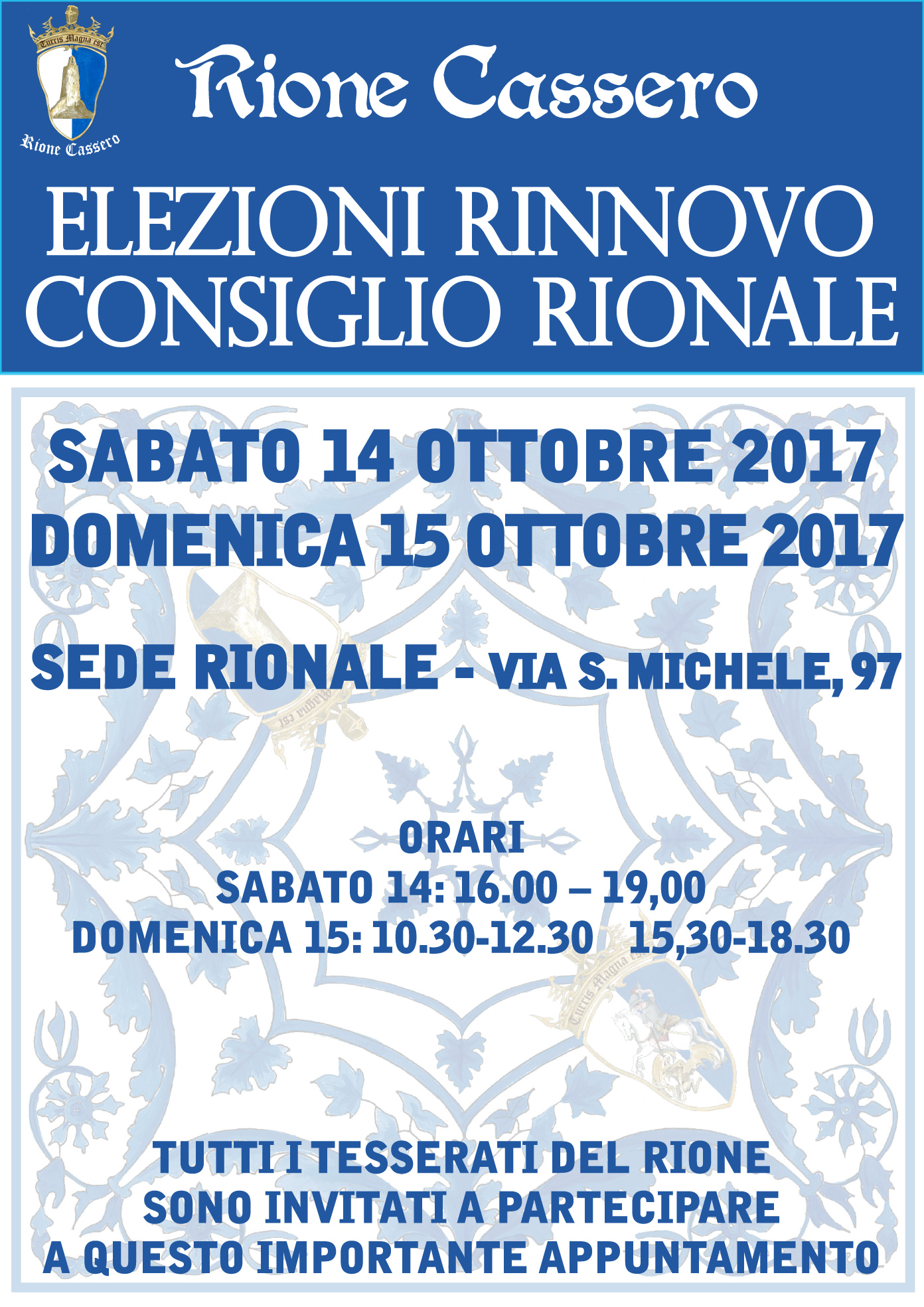 Elezioni per il Consiglio Direttivo del Rione Cassero