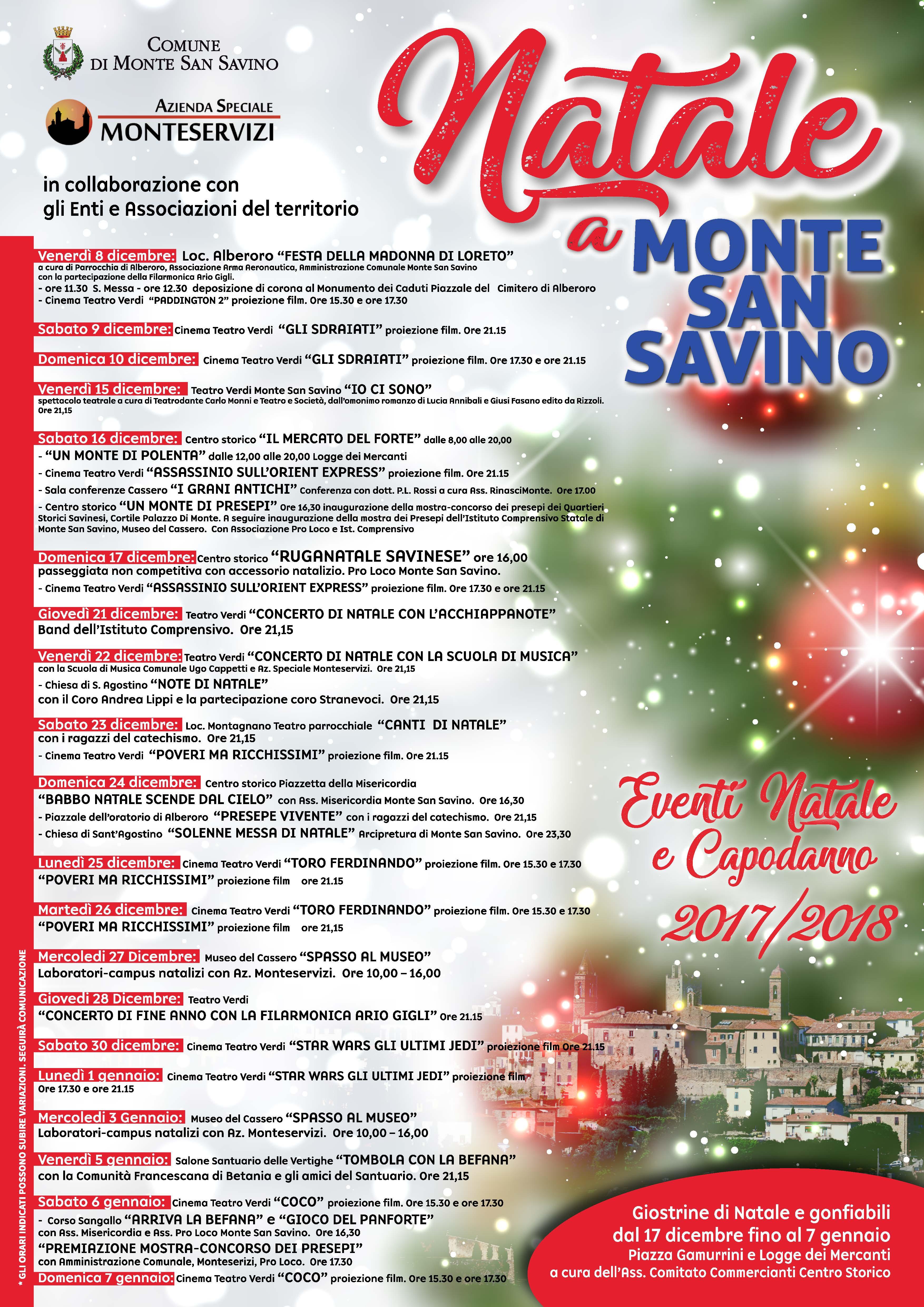 A Monte San Savino un weekend natalizio con tanti eventi: presepi, gastronomia e il Mercato del Forte