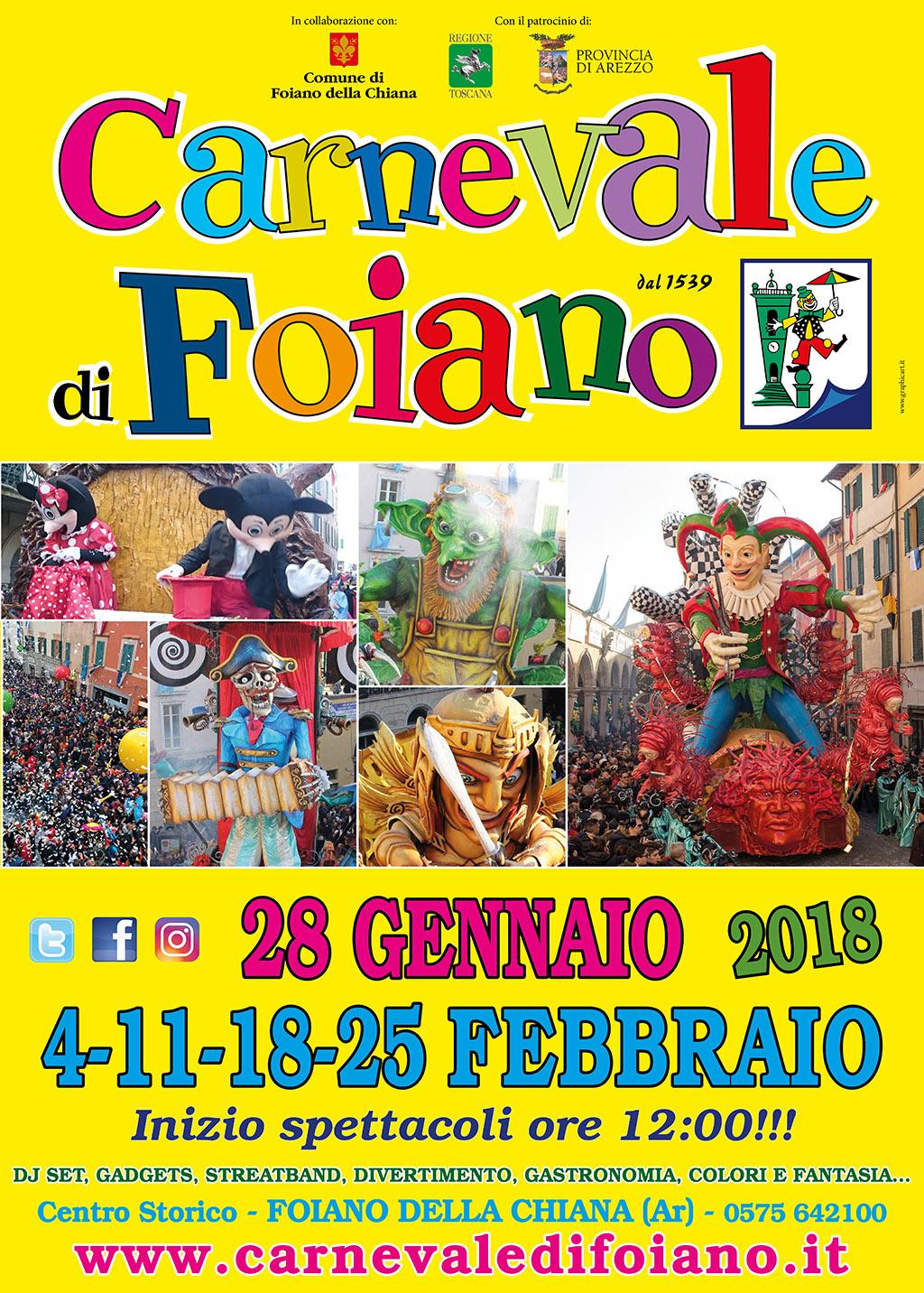 Torna il Carnevale di Foiano dal 28 Gennaio: tutte le anticipazioni