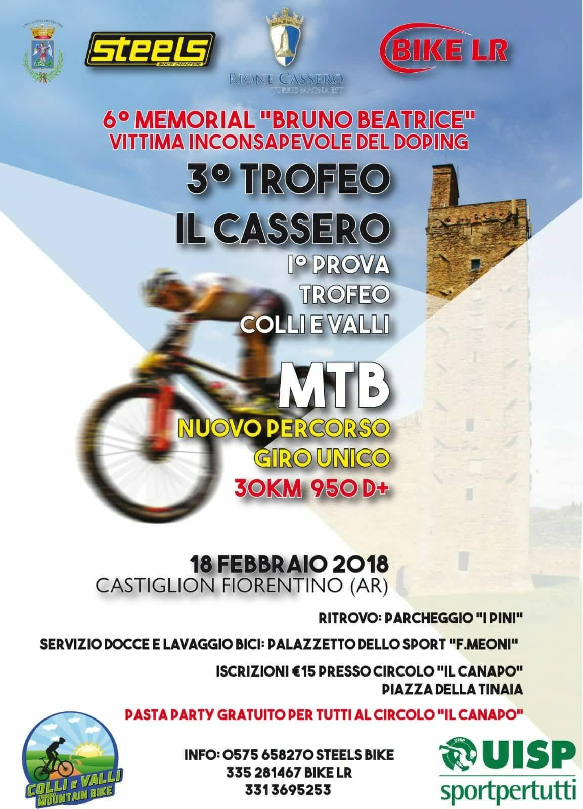 """""""Trofeo il Cassero"""", gara di mountain bike domenica a Castiglion Fiorentino"""