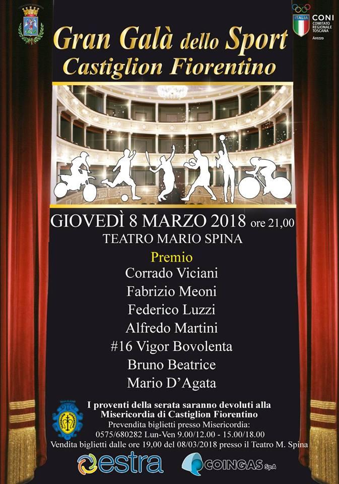 Teraza edizione del Gran Galà dello Sport a Castiglion Fiorentino