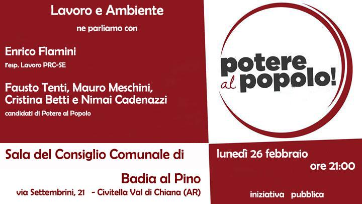 A Badia al Pino incontro con i candidati di Potere al Popolo