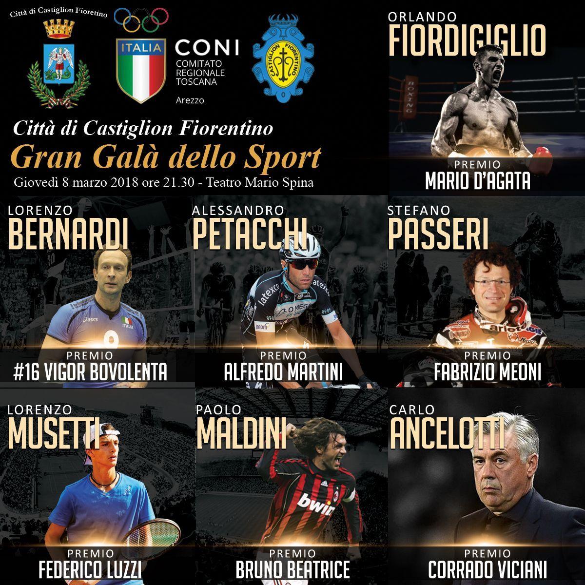 Maldini, Ancelotti, Bernardi e tanti altri premiati al Gran Galà dello Sport