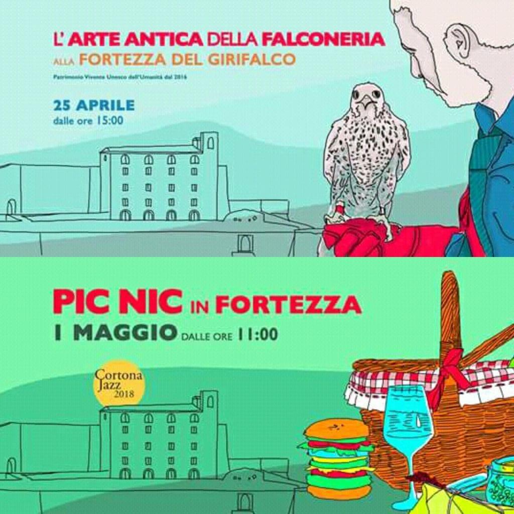 25 Aprile e 1° Maggio in Fortezza: picnic, musica, falconeria. Al Girifalco eventi per tutti
