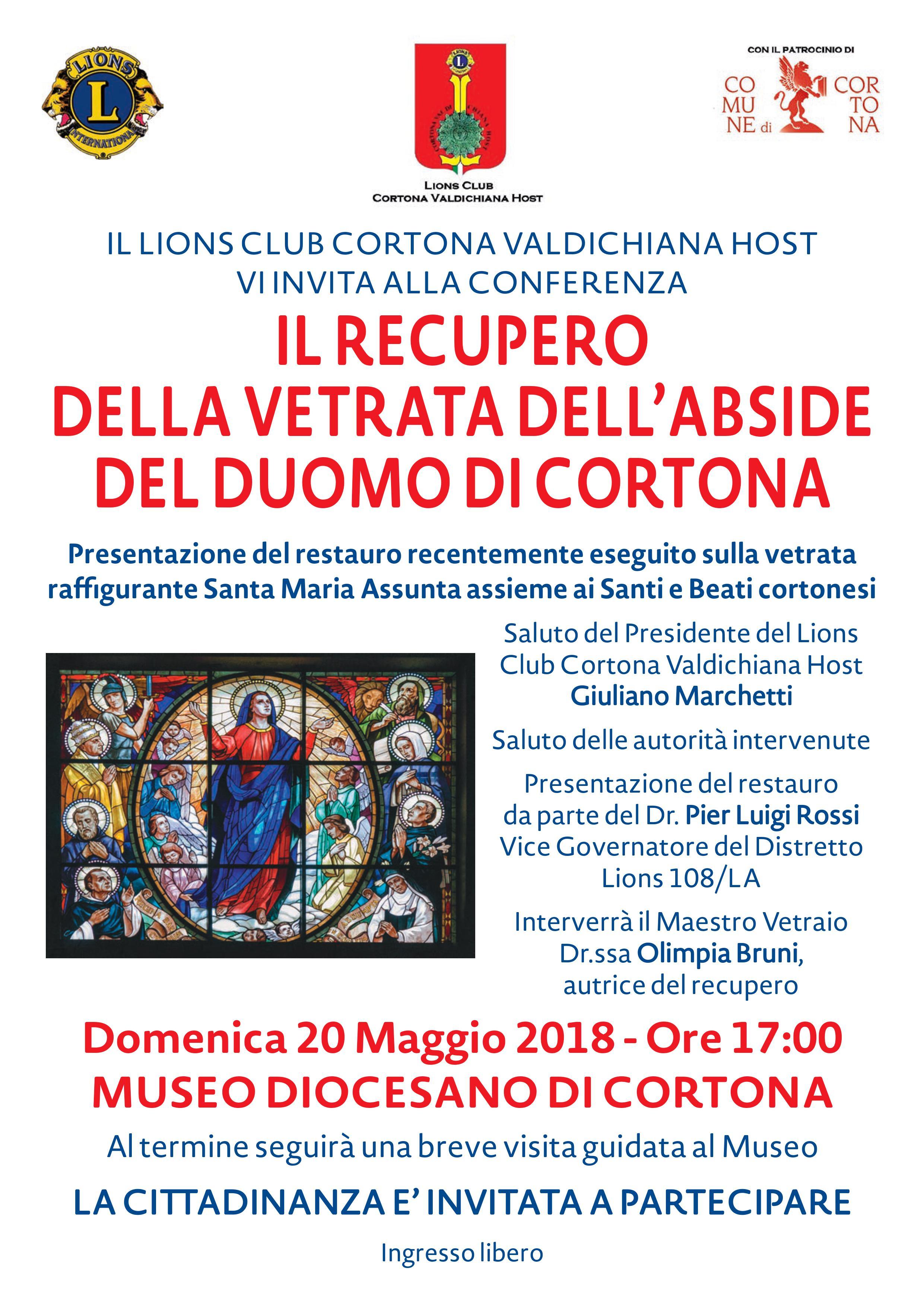 Il Lions Club Cortona Valdichiana Host  inaugura il restauro della vetrata absidale del Duomo di Cortona