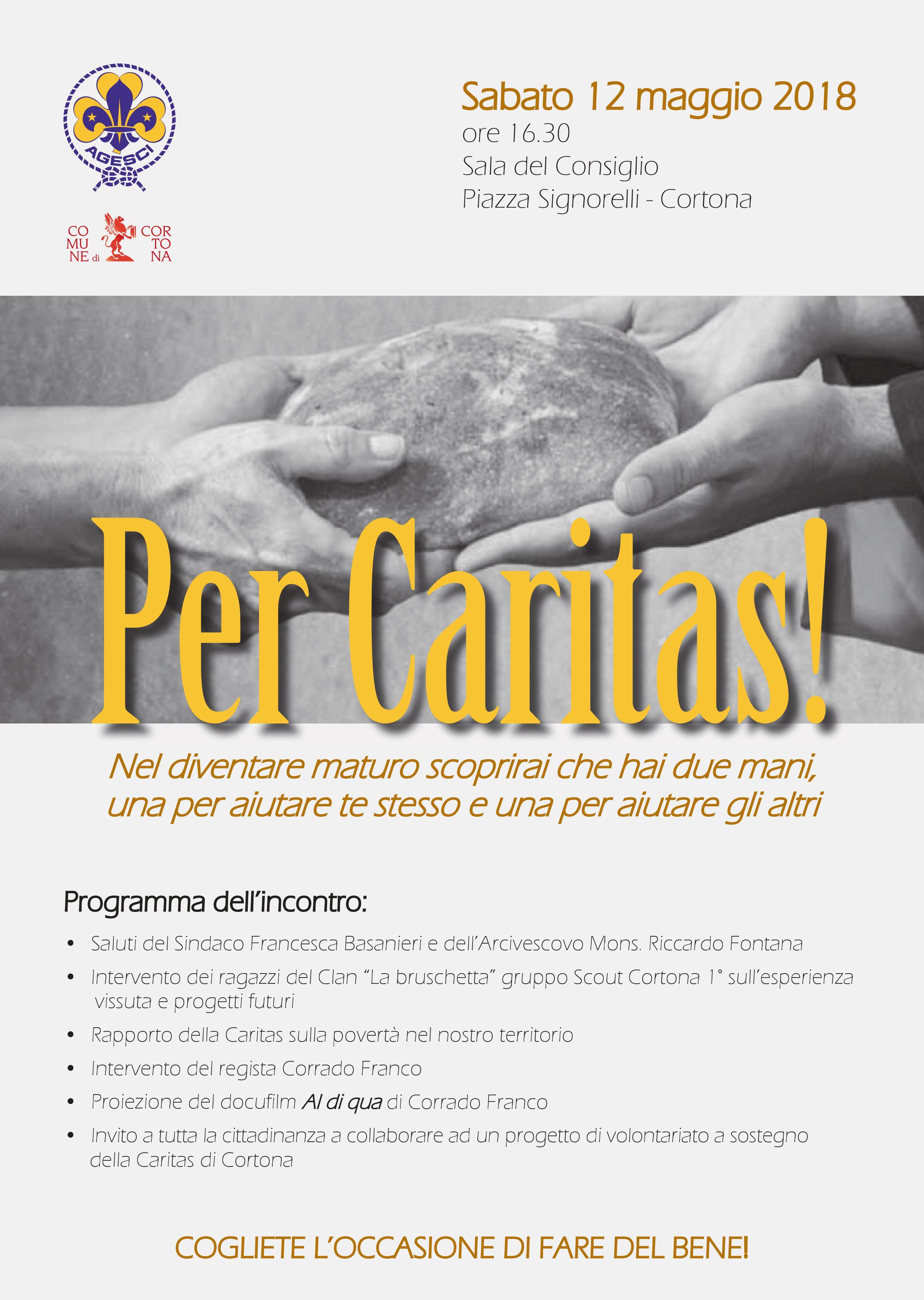 L'impegno dei ragazzi di Agesci per Caritas: evento sabato 12 in Sala del Consiglio