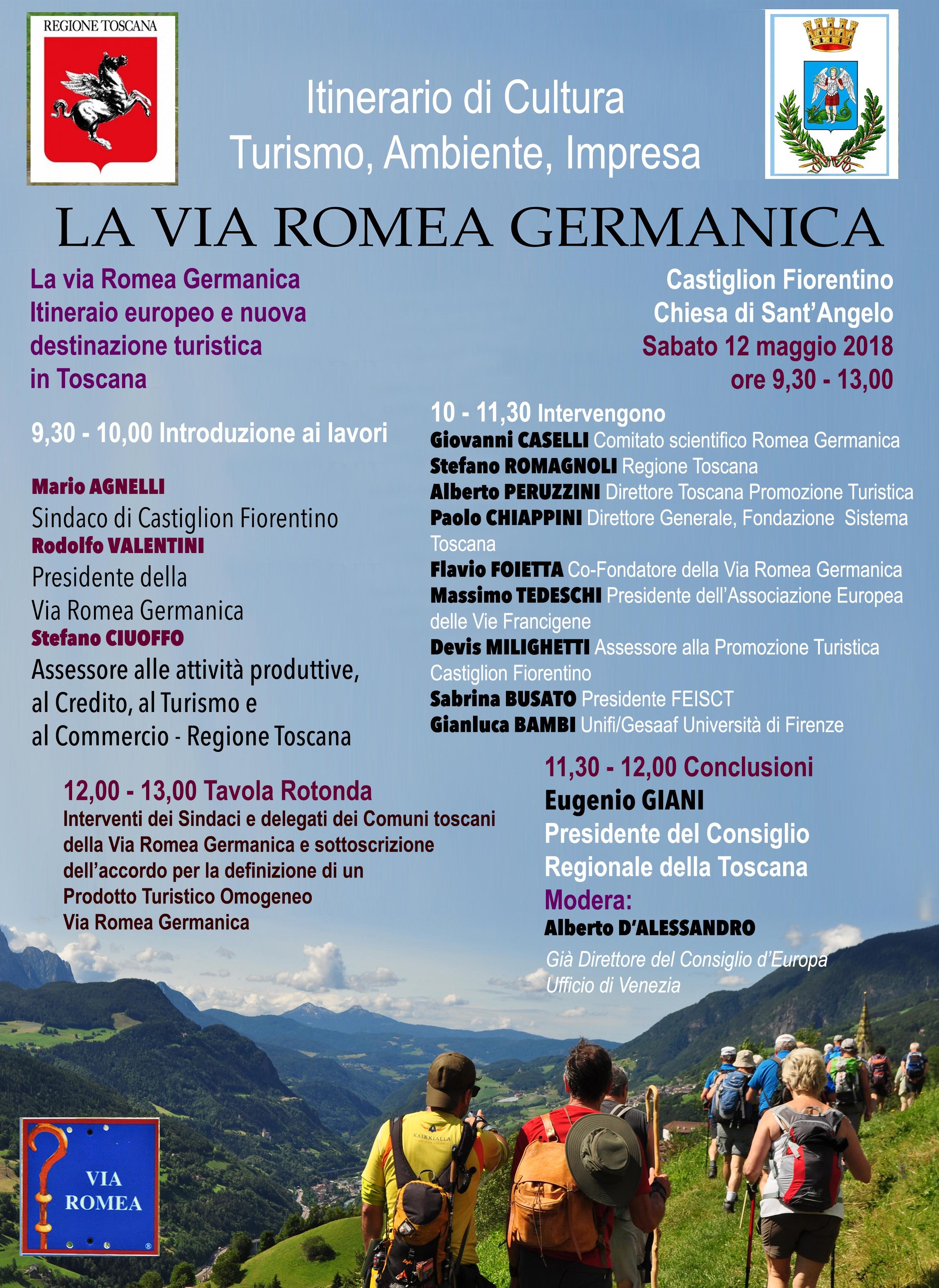 """La """"Via Romea Germanica"""", itinerario europeo e nuova destinazione turistica in Toscana"""