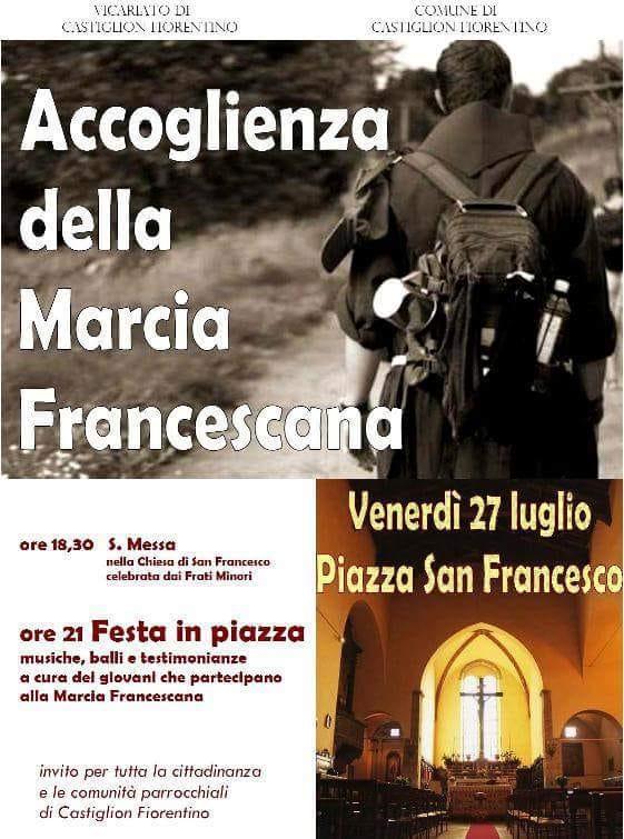 Accoglienza della Marcia Francescana venerdì a Castiglion Fiorentino