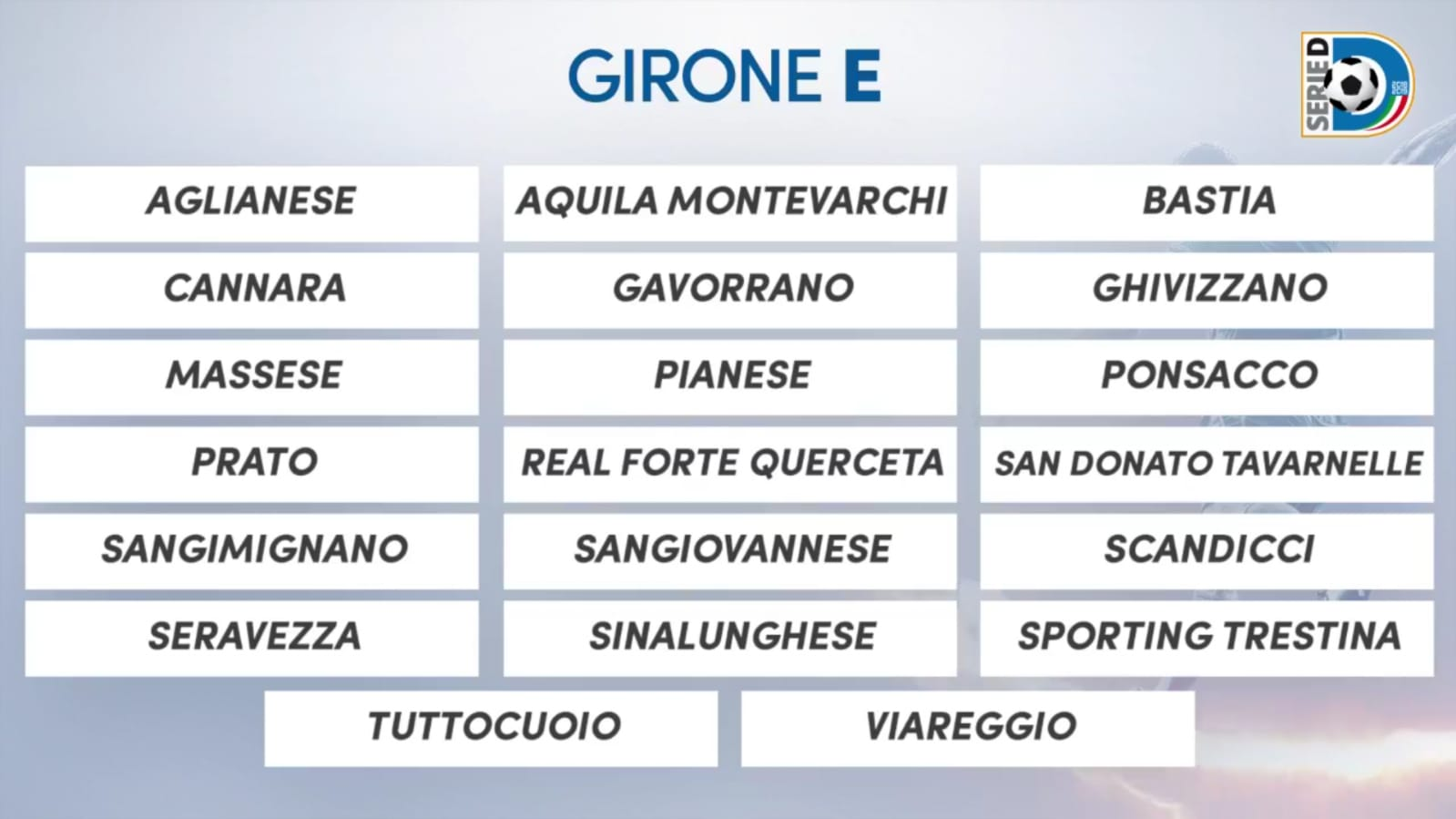 Ecco le avversarie della Sinalunghese in Serie D