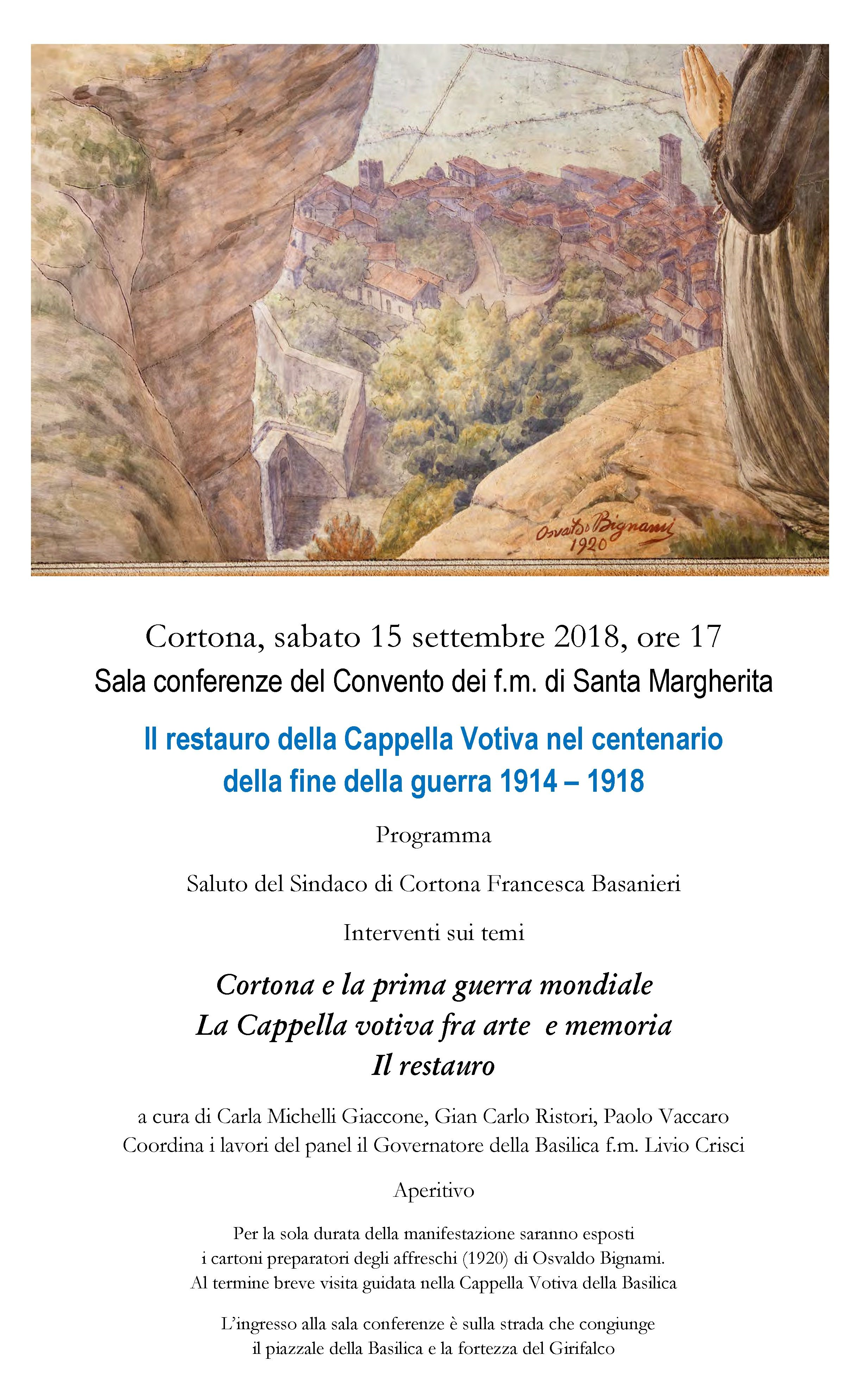 Sabato la presentazione del restauro della Cappella di Santa Margherita dedicata alle vittime della 1a Guerra Mondiale