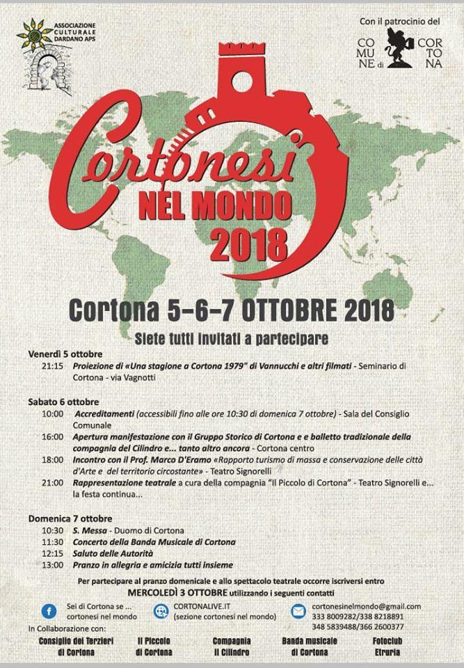 Cortonesi nel mondo: novità sulla 3 giorni del 5-6-7 Ottobre col