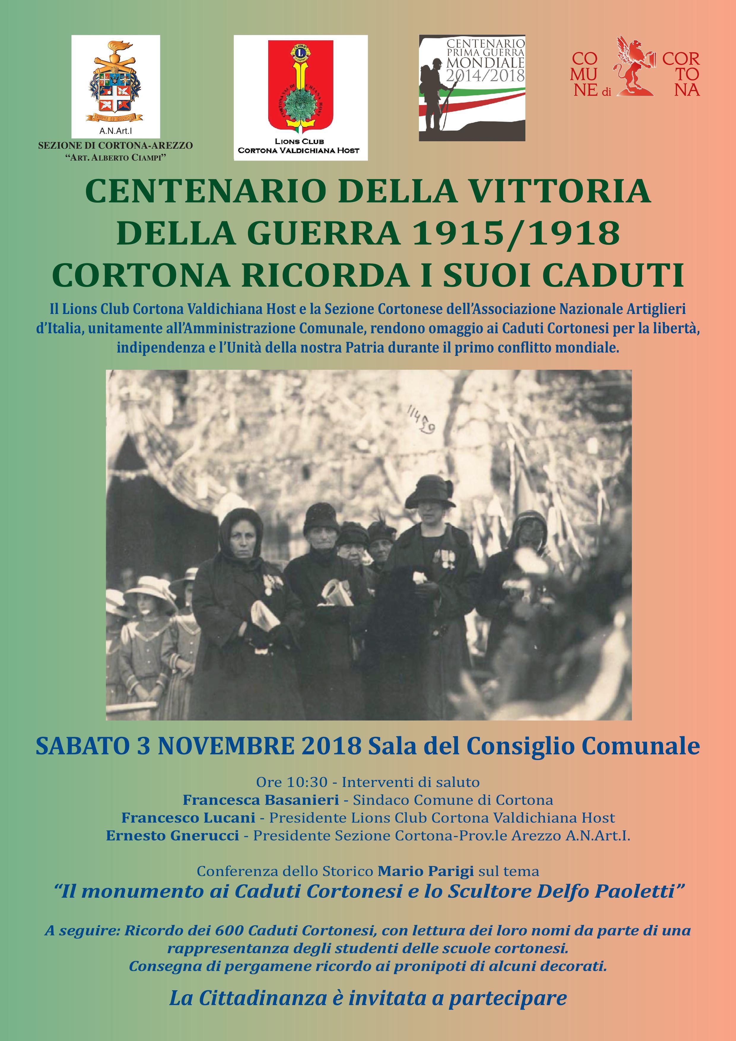 Cortona ricorda i suoi caduti nel Centenario della Vittoria nella Grande Guerra