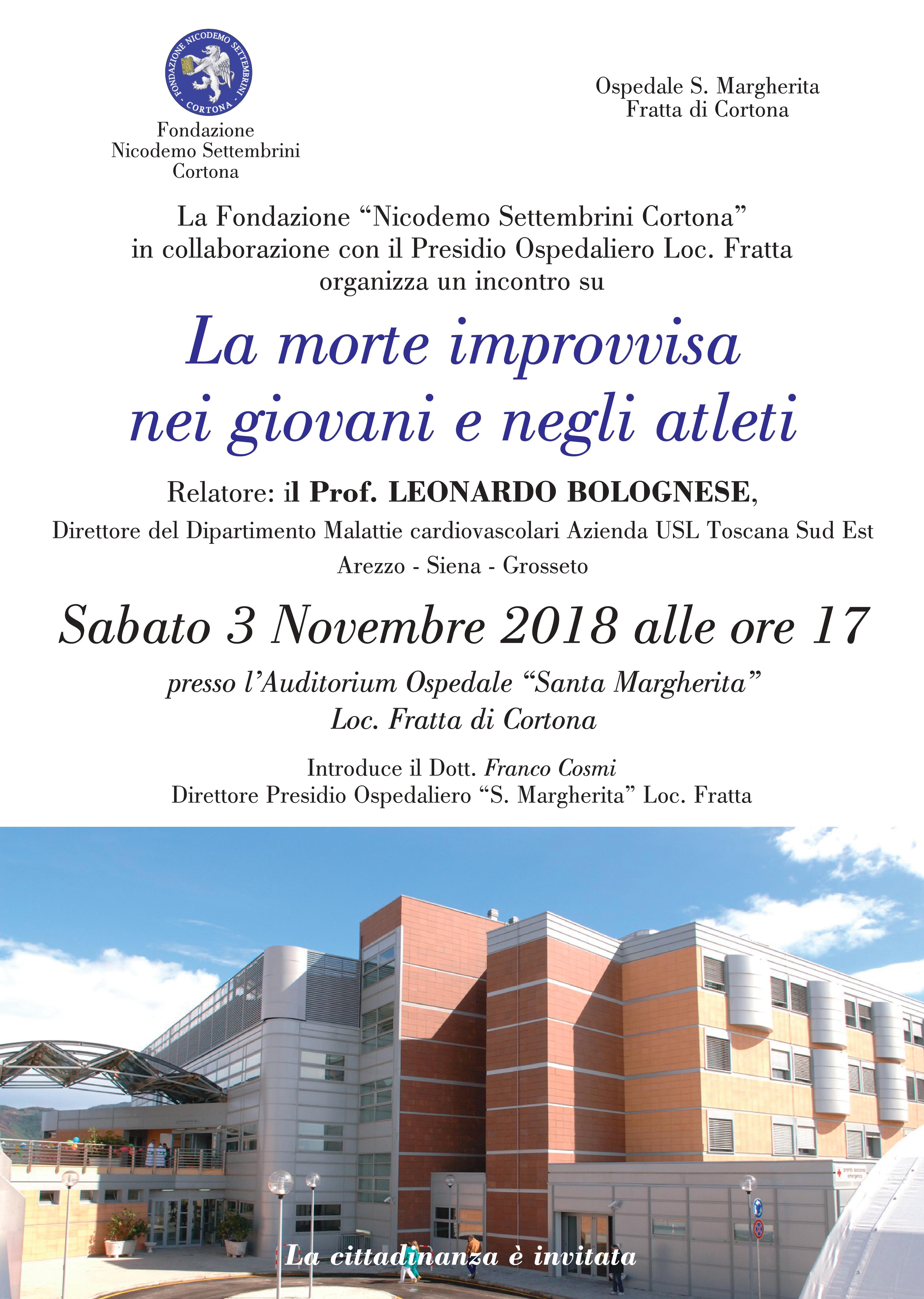 Incontro col Prof. Bolognese all'Ospedale di Fratta, lo promuove la Fondazione Settembrini