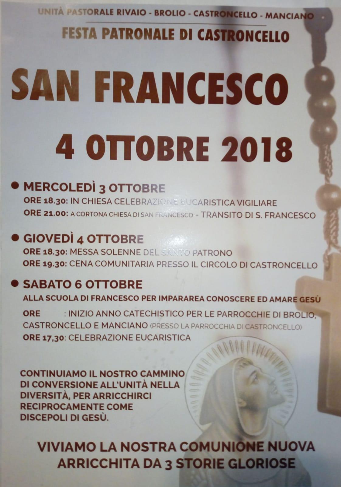 Celebrazioni per San Francesco alla Parrocchia di Assisi