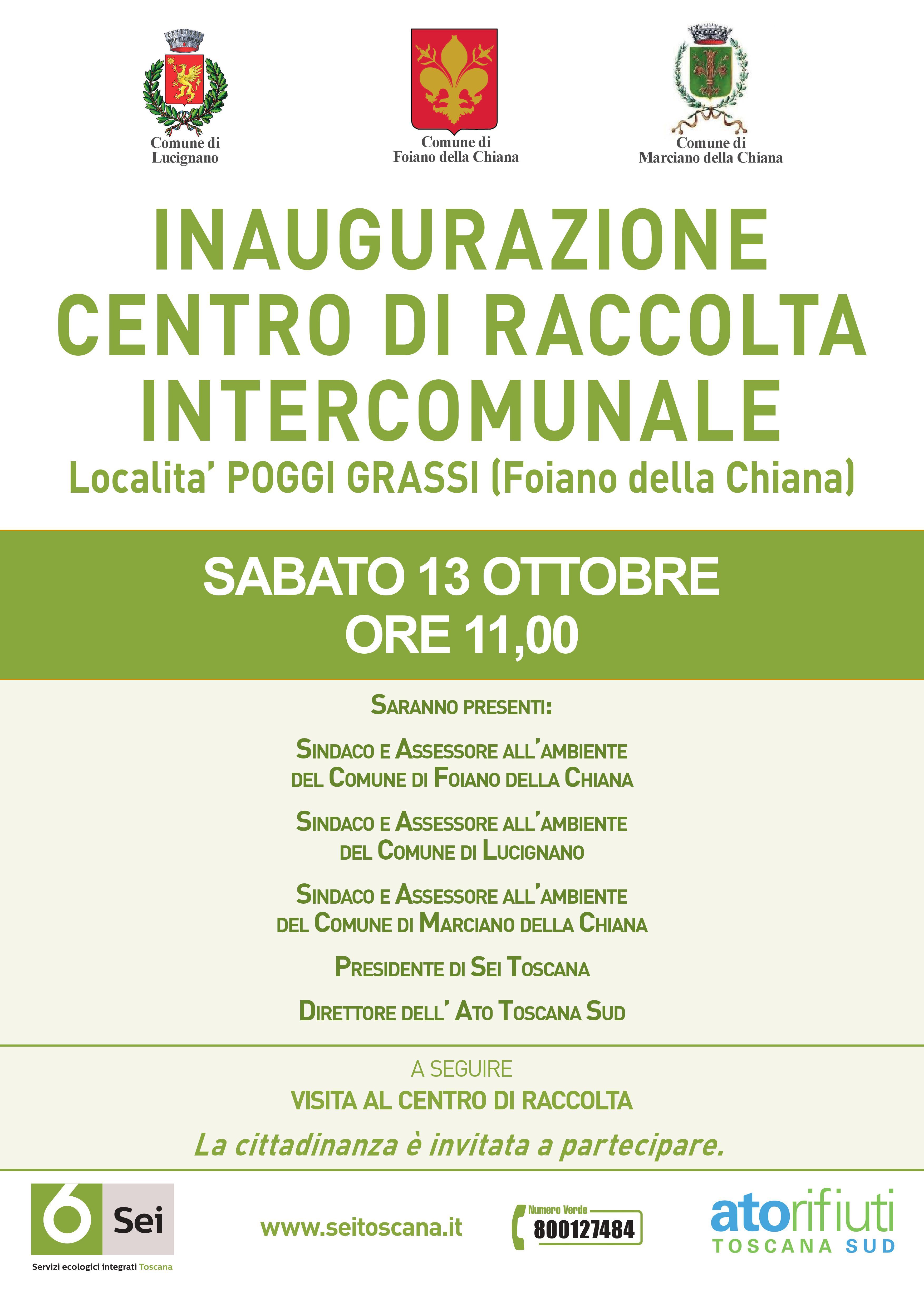 Sabato inaugurazione del Centro di Raccolta Intercomunale per Foiano, Lucignano e Marciano