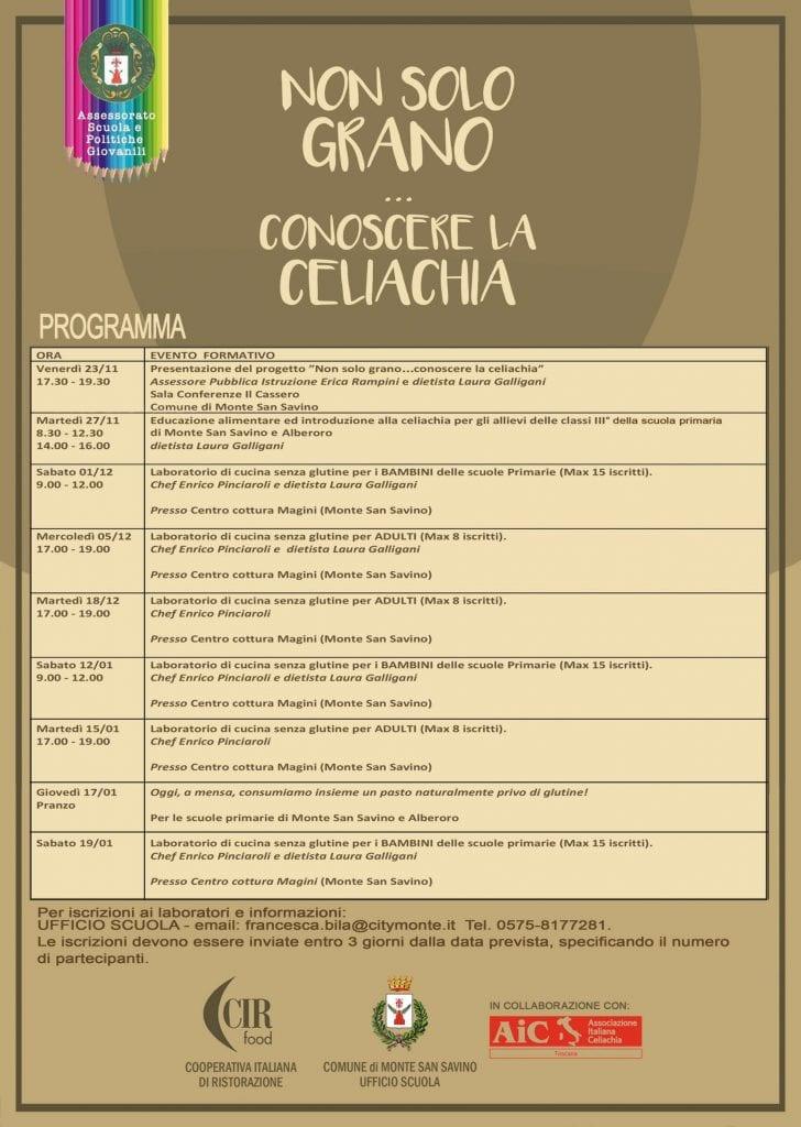 Conoscere la celiachia: campagna del Comune di Monte San Savino per alunni e famiglie