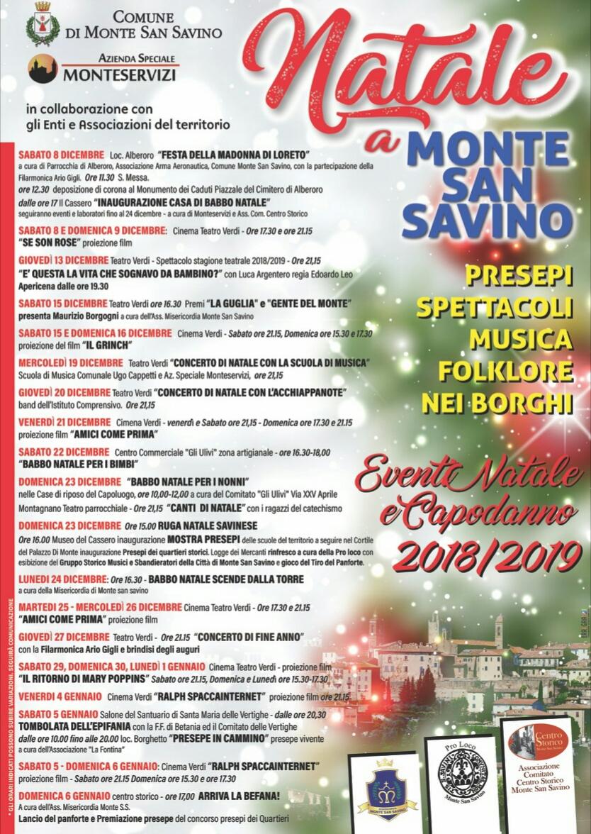 Monte San Savino, via agli eventi del Natale