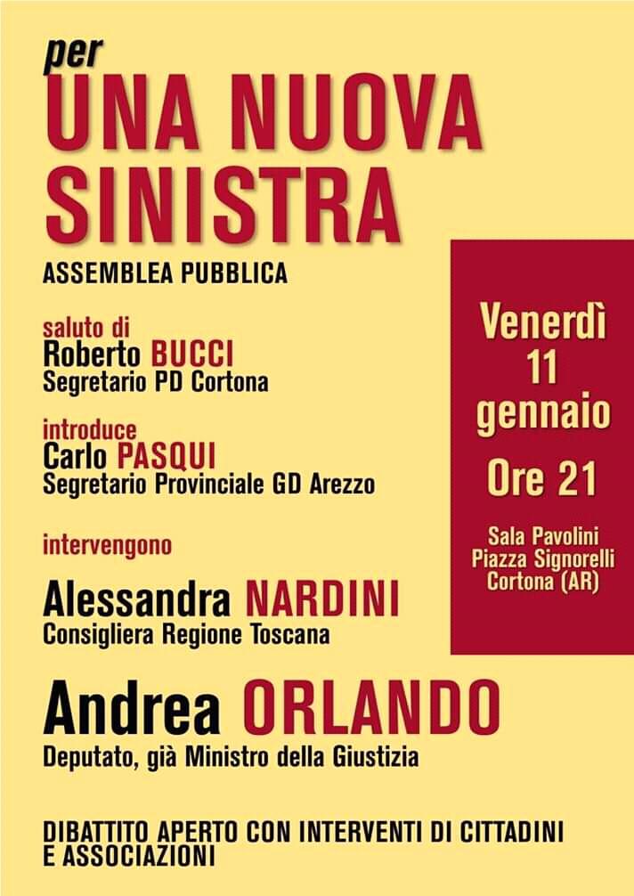 A Cortona assemblea pubblica per una nuova sinistra con l'ex ministro Orlando