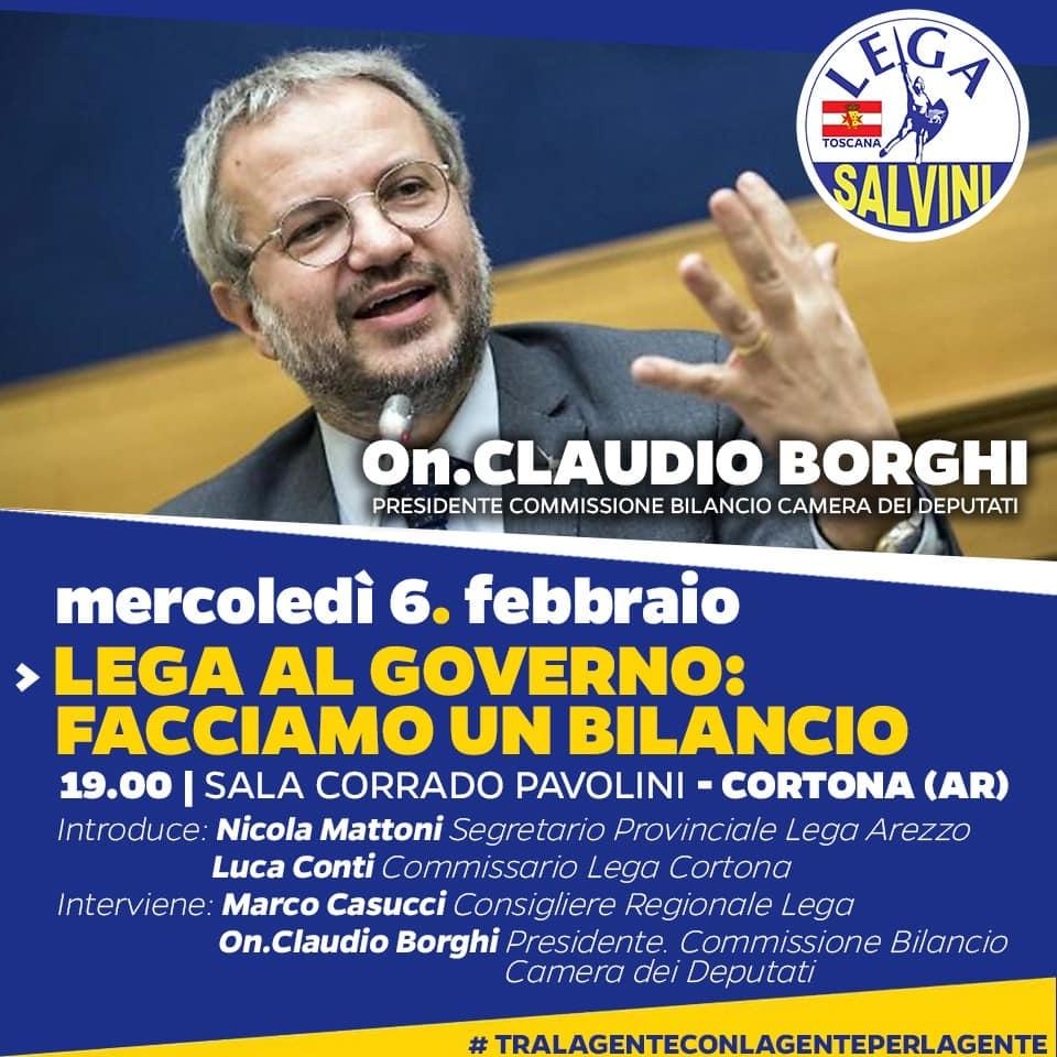 Lega, incontro pubblico a Cortona con l'On. Borghi